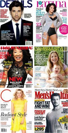 "Grey's Anatomy magazine covers. Patrick Dempsey (Derek ""McDreamy"" Shepherd), Sara Ramirez (Callie Torres), Sandra Oh (Cristina Yang), Jessica Capshaw (Arizona Robbins), Ellen Pompeo (Meredith Grey) & Eric Dane (Mark ""McSteamy"" Sloan)."