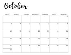 October 2021 calendar page -basic. Free printable October 2021 calendar. Classroom Calendar, School Calendar, Calendar Pages, Calendar 2020, Planner Pages, Desktop Calendar, Planner Ideas, Monthly Calendar Template, Monthly Planner Printable