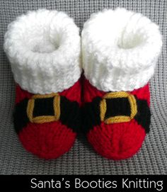 Baby // Clothing // Baby Shoes / DIY / Santa Baby Booties / Knitting / Pattern