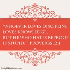 """Proverbs 12:1 """"Whoever loves discipline loves knowledge, but he who hates reproof is stupid."""" I DailyBibleMeme.com"""