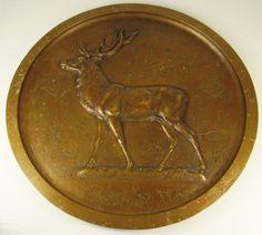 Antike Seltene Bronze Wandplatte Lauchhammer E.Oe Jagd Motiv