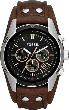 A leather cuff lends bold masculinity to a brushed-steel watch case designed with a tachymeter bezel and classic chronograph dial. Style Name:Fossil 'sport' Chronograph Leather Cuff Watch, Style Number: Available in stores. Herren Chronograph, Brown Leather Watch, Leather Watch Bands, Fossil Watches For Men, Wrist Watches, Men's Watches, Luxury Watches, Schmuck Online Shop, Bracelets