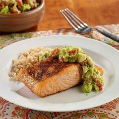 Foodnetworks top 20 most saved healthy recipes food network pan seared salmon with guacamole forumfinder Gallery