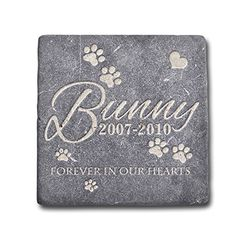 Personalized Memorial Pet Headstone Customized  Forever In Our Hearts  6 x 6 Negro Marquina Marble *** You can get additional details at the image link.