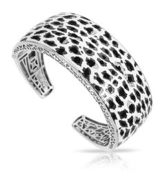 Leopard White Bangle by Belle Etoile. Fashion Jewelry. Silver Jewelry. Edge Style. Edgy Style.