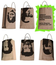 """And now ladies and gentlemen, something of the absurd. As one bag says, these are to be used as disguises. HEY DON""""T SHOOT ME - I'M JUST THE MESSENGER!!!! Want to be less absurd, give us a look see and check us out www.discountshoppingbags,com       866-296-7130"""