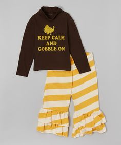 Look at this Beary Basics Brown Gobble Turtleneck & Ruffle Pants - Infant, Toddler & Girls on #zulily today!