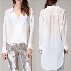 The VENICE fold over hi-lo top - WHITE ️HPx2How fun is this semi-sheer top? I rock it out with a tube or tank top, skinny jeans or leggings. So versatile. AVAILABLE IN WHITE OR BLACK. ‼️NO TRADE‼️ Bellanblue Tops Tees - Long Sleeve