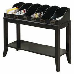 """Wood console table in distressed black with 6 top storage compartments and a bottom display shelf.   Product: Console tableConstruction Material: WoodColor: Distressed black Features: Six compartmentsBottom display shelf Dimensions: 29"""" H x 33"""" W x 13"""" D"""