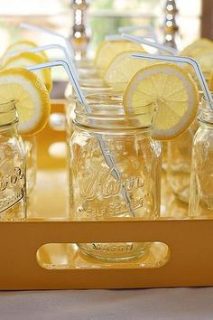 Such a pretty way to serve water or lemonade at a bridal shower