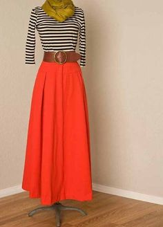 Black & White stripe long sleeve crop • mustard green infinity scarf • red orange maxi skirt • brown belt