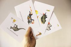 4 Assorted Happy Tassie Cards by MZillustrations on Etsy