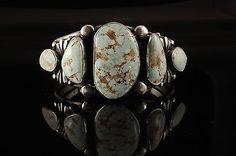 Quality RARE Dry Creek Turquoise Stones Signed Verdy Jack Silver Navajo Bracelet | eBay