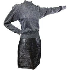 Preowned Charles Jourdan Silver Pencil Skirt & Sweater Top 38 (3 095 PLN) ❤ liked on Polyvore featuring tops, sweaters, black, silver top, charles jourdan and silver sweater