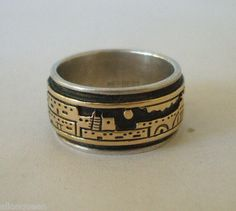 Signed NAVAJO Sterling Silver & 14K GOLD Overlay StoryTeller Ring, by Herbert Begaye, TurquoiseKachina, $233.10