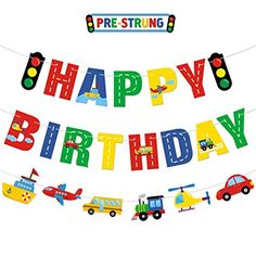 Transportation Happy Birthday Banner Car Bus Train Plane Ship Helicopter Traffic Light Photo Props Garland for Kids Transportation Theme Birthday Party Decorations Baby Shower Supplies Happy Birthday Theme, Birthday Themes For Boys, Happy Birthday Banners, Boy Birthday, Car Themed Parties, Cars Birthday Parties, Transportation Birthday, Birthday Party Decorations Diy, Traffic Light