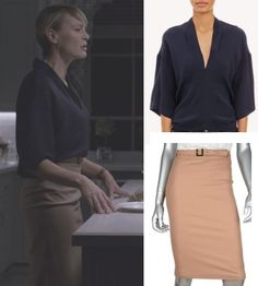 claire underwood house of cards hoc season 3 silk kimono sleeve blouse khaki camel pencil skirt robin wright