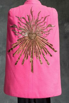 Pink embroidered cape