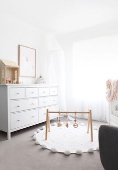 Modern, white and light nursery with our heirloom quality wooden play gym. This baby gym makes a perfect gift and is safety certified! Baby Bedroom, Baby Boy Rooms, Kids Bedroom, Kid Rooms, Living Rooms, Bedroom Ideas, Baby Gym, Nursery Furniture, Furniture Legs