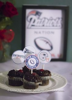 bf3de2edb97 SUPER BOWL Recipe   Decor Roundup featuring Patriots Party Printables by  Glitter   Pearl LLC.