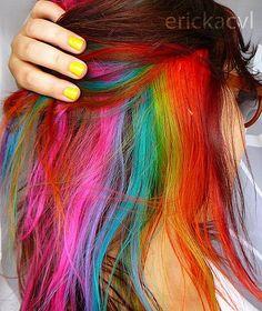 under rainbow hair