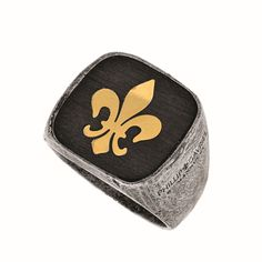Ring 18kt Yellow Gold+Silver. Square Top Seal