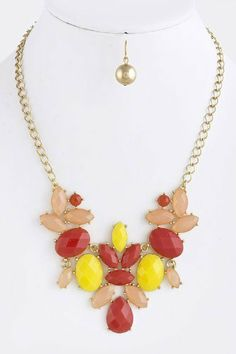 """Acrylic Orange And Yellow And Gold Accent Jewel Layered Necklace - Gold Accent Faceted Jewel Drape Collar Necklace StarShine Jewelry. $17.60. Lobster claw clasp with 3"""" extender. Matching earrings come as set. Lead and nickel compliant. Length approx 20"""". Faceted jewel necklace"""