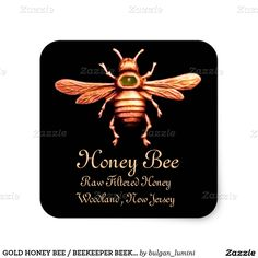 GOLD HONEY BEE / BEEKEEPER BEEKEEPING SQUARE STICKER