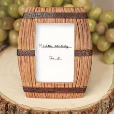 These Wine Barrel Place Card Frame Wedding Favors will have your guests feeling like they're at a vineyard! Wine Barrel Wedding, Wine Wedding Favors, Brewery Wedding Reception, Small Picture Frames, Spring Wedding Bouquets, Wedding Ideas Board, Rustic Wedding Signs, Wedding Frames, Place Card Holders