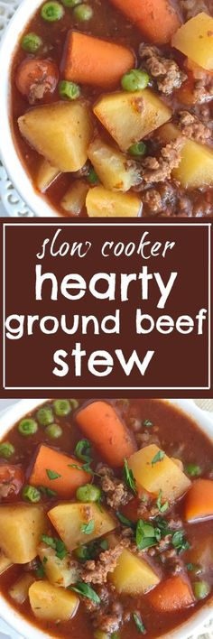 few minutes prep in the morning is all you need for this hearty ground beef stew that is made in the slow cooker. A hearty , flavorful stew loaded with vegetables and ground beef. Perfect comfort food dinner recipe for any night of the week Health Slow Cooker Recipes, Slow Cooker Hamburger Recipes, Slow Cooker Freezer Meals, Crockpot Meals, Breakfast Crockpot, Paleo Breakfast, Hamburger Stew, Easy Chicken Recipes, Beef Recipes