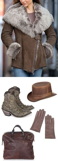 Steampunk Hat, Studded Ankle Boots, Gloves, Leather Bag & Fur Color Jacket II Fall Fashion ❤︎