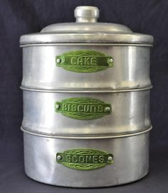 Art Deco Aluminum stackable kitchen canisters with green labels from Australia Vintage Canisters, Kitchen Canisters, Vintage Tins, Vintage Love, Vintage Green, Vintage Decor, Kitchenware, Vintage Stuff, Old Kitchen
