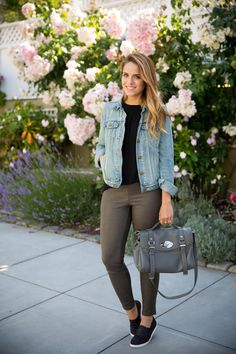 Gal Meets Glam- Gap Denim Jacket, Madewell Leather Pants, Mulberry Bag, Joie Sneakers