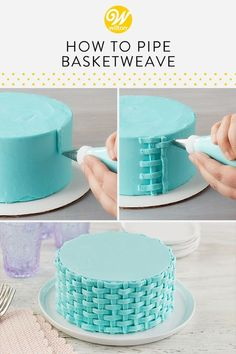 The buttercream basketweave technique turns simple cakes into beautiful treats! This piping technique creates a two-dimensional classic woven look design. Use to create baskets, fences, or completely cover your cake! #wiltoncakes #cakedecorating #cakeideas #cakedecoratingideas #desserts #spring #basketweavecakes #classiccakes #wilton #butercream #buttercreamfrosting #buttercreamcakes