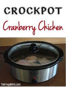 Crockpot Cranberry Chicken Recipe at TheFrugalGirls.com