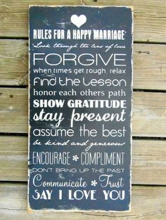 Wood Sign Marriage Rules Typography Wall Art by Marriage And Family, Marriage Relationship, Happy Marriage, Marriage Advice, Marriage Sayings, Handmade Wedding Gifts, Handmade Signs, Handmade Ideas, Love Amor