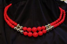 70's Retro Lipstick Red and Gold Beaded Double Strand Necklace