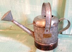 Watering Can Galvanized Metal Rustic Yard Home Decor Measures New 7x14 Inches #Ds #GardenHomeDecorPatioYard