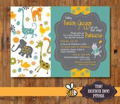 Baby Shower Invitation ... Zoo Animal Baby Shower Invitation for BABY BOY - Item 0054a