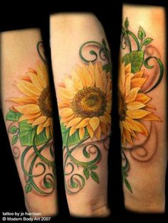 Sunflower tattoo - something like this for the garden I want across my shoulders