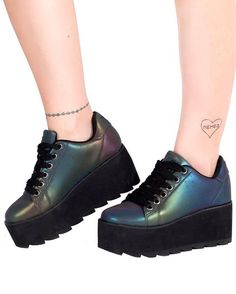 7847d311cf YRU Lala Reflective Sneakers-Side 3 Inch Heels, Platform Boots, Platform  Sneakers,