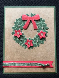 Color Dare Ivy, Candy Apple & Kraft-one of my favorite holiday combinations. All paper, ink, gold gems & burlap ribbon are CTMH. Wreath, flowers & bow are a SU! Challenge Cards, Burlap Ribbon, All Paper, Candy Apples, Favorite Holiday, Dares, Ivy, Christmas Cards, Card Making