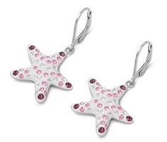 Dangling Nautical Puff Starfish Amethyst CZ Leverback Silver Earrings