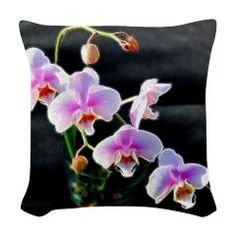 Pink Orchids Woven Throw Pillow > Floral Delights > Rosemariesw Design Photo Gifts