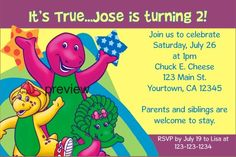 Barney Invitations