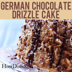 German Chocolate Drizzle Cake! This is AmAzing - all the men in my family ask for this for birthdays and special occasions! Recipe at HowDoesShe.com