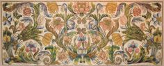 18th C. Italian silk floss embroidered antependium with boldly drawn large scale flower and scrolling vine motifs edged in gold cord.