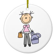 Girl With Backpack Christmas Ornament