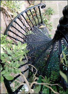 iron spiral stairs.