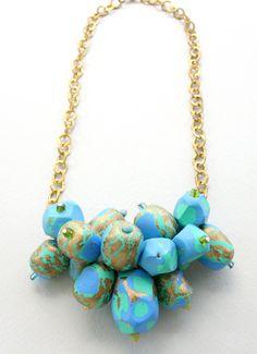 Jewel Tone Cluster Necklace Statement Jewelry by SaraAmrhein